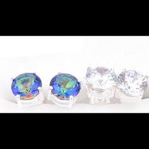 Silver Mystic Topaz & Cubic Zirconia Earrings